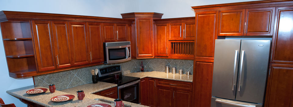 Burgundy maple cabinets cabinetry stone depot for Burgundy kitchen cabinets