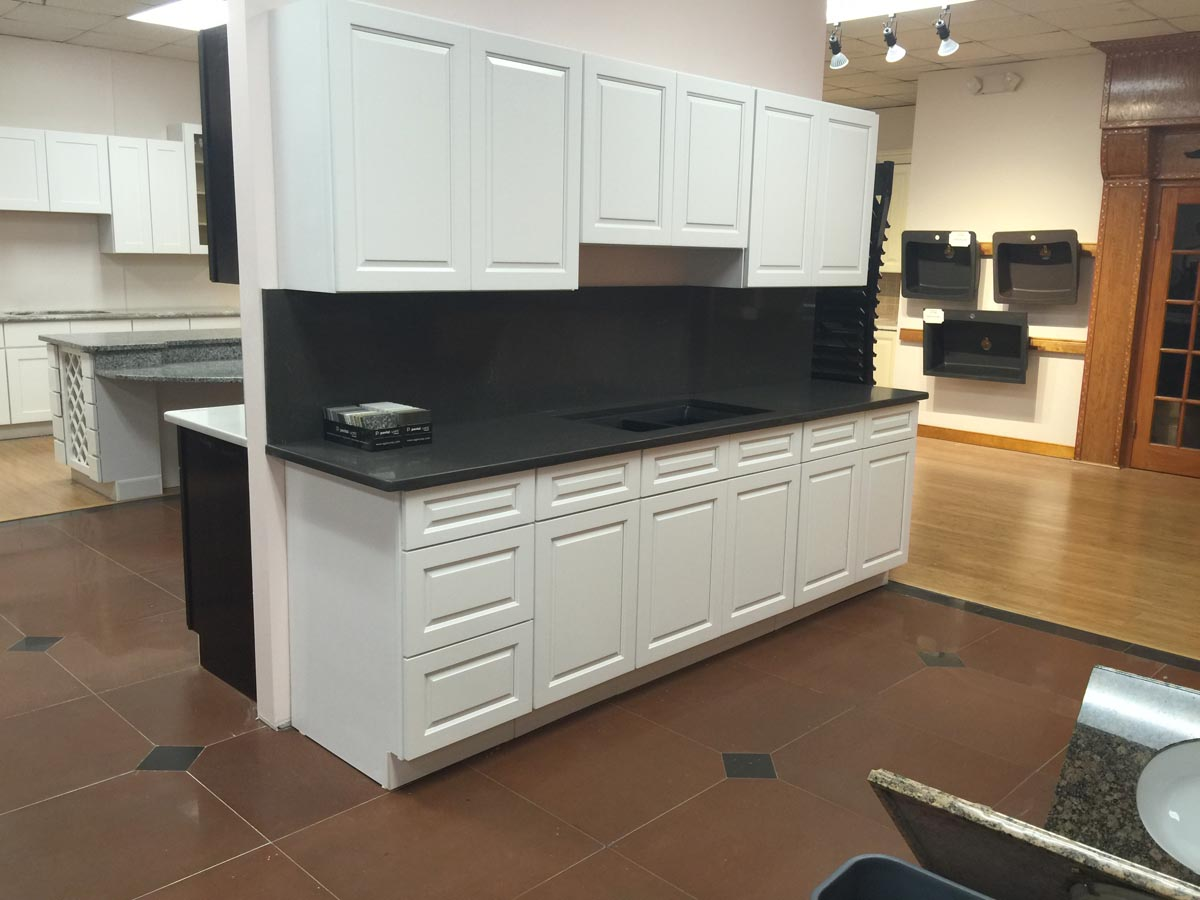 Gramercy white cabinetry stone depot for Kitchen cabinets and stones